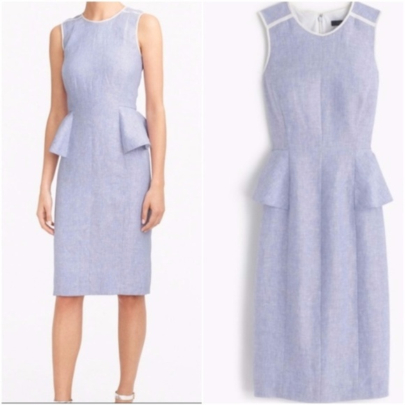 37195db626 J. Crew Dresses   Skirts - J Crew Linen Peplum Dress French Blue Size 10